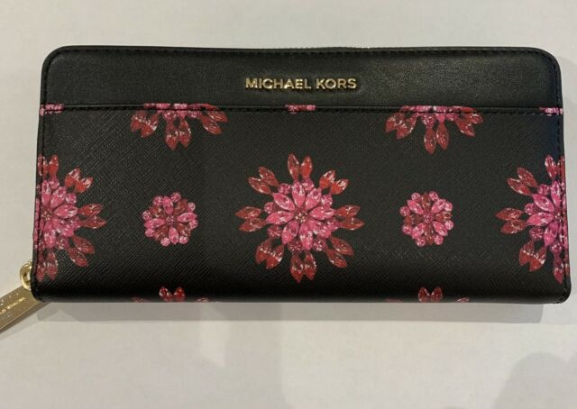 baca353d2168b0 Michael Kors Money Pieces Zip Around CONTINENTAL Wallet Black & Pink Floral
