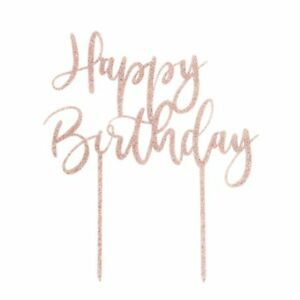 Super Rose Gold Glitter Happy Birthday Cake Topper Ebay Personalised Birthday Cards Cominlily Jamesorg