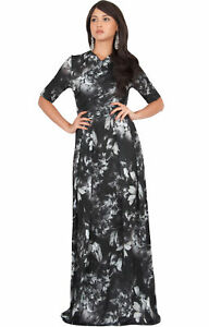 624f97819a9 Womens Floral Printed Casual Short Sleeve V-Neck Flowy Long Gown ...