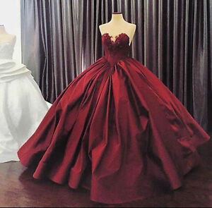 ce9deb6cf8ce Image is loading Vintage-Burgundy-Evening -Bridal-Dress-Quinceanera-Dress-Prom-