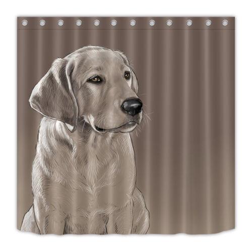 Labrador Dog Greets Bathroom Waterproof Fabric Bath Shower Curtain Hooks Mat Set