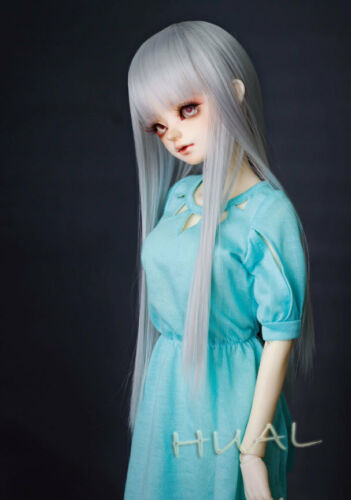 7-8 1//4 BJD Long Silver Gray Straight Wig LUTS Doll SD DZ DOD MSD Fairyland Hair