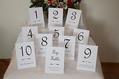 6 Double-Sided Personalised Stand Alone Table Numbers & Clear Crystal Diamante