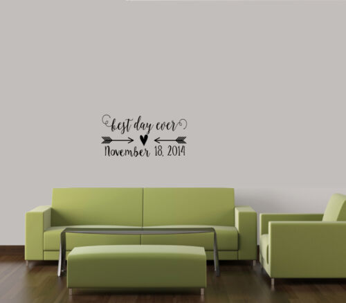 Personalized Wall decal words quote decor love Best Day Ever Wedding Date EST