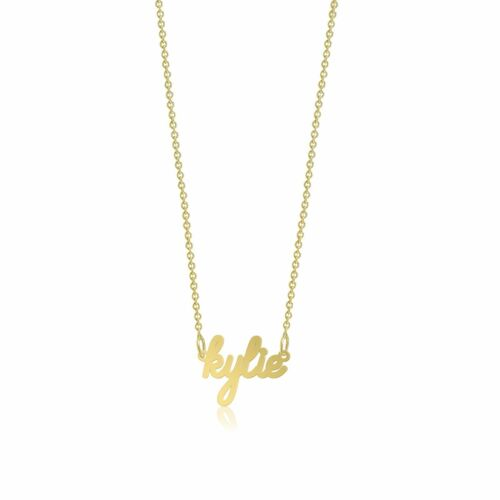 14K Yellow Gold Personalized Custom Cursive Name Pendant Rolo Chain Necklace Set