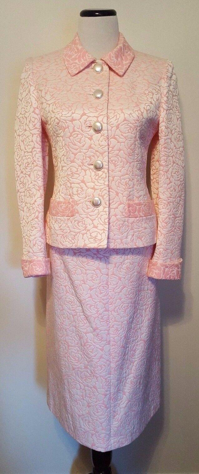 Sophy Curson Brocade Skirt Suit Pink & White Flore France Sz 38 US M