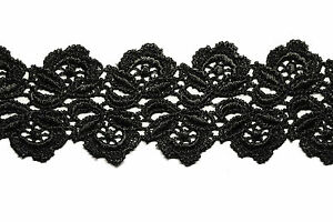 """1.75"""" Off-White Black White Floral Scalloped Venice Lace Trim Guipure By Yardage"""