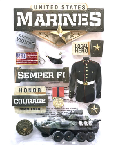 Paper House 3D Stickers Marines Semper Fi Tank Unicorm Courage Hero Honor