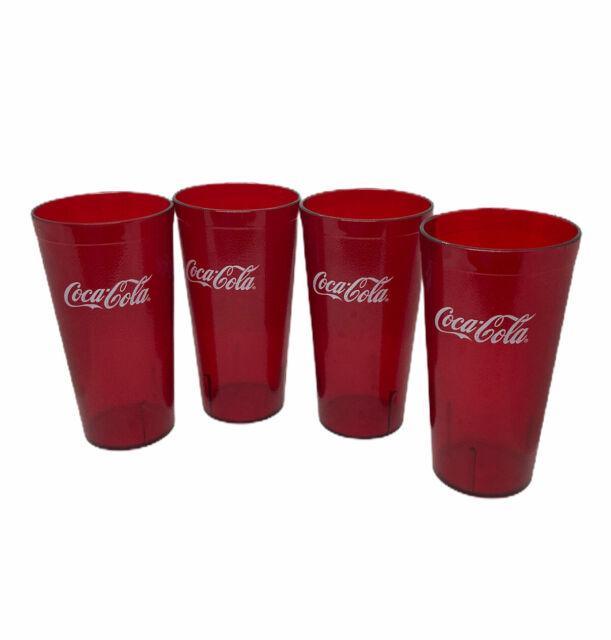 VTG 6 Coke Coca Cola Restaurant Clear Plastic Tumblers Cups Carlisle Drink 24oz