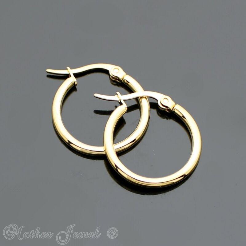 20mm 14k Yellow Gold Ip Stainless Steel Round Hoops Hoop Circle Unisex Earrings