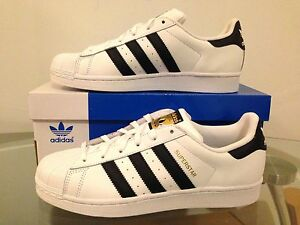 Image is loading Adidas-Superstar-Original-Black-White-Gold-Stripes-Shell-