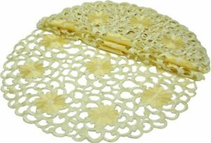 4-Pack-Embroidered-Cutwork-Spring-Round-Doilies-12-Inch-Yellow