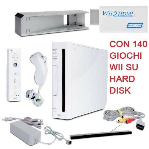 videogiochi e console: nintendo wii console REGALO 140 GIOCHI CON + ADATTATORE HDMI DOPPIO 2 CONTROLLER