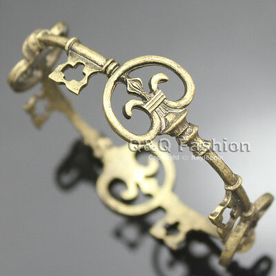 Victorian Retro Gold Antique Skeleton Key Cross Bridal Bracelet Bangle Steampunk