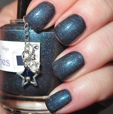 NEW! THE LADY VARNISHES Indi / Indie Nail Polish in VEGA ~ Blackened Blue holo