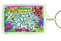 Bahamas Map Acrylic Rectangular Keychain 2.5 X 1.5