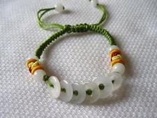 Adjustable Silk Knots Jadeite Jade 6 Money Circle Beaded Bracelet -Great 4 kids!