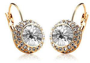 Austrian Crystal Jewellery Diamond Shine Gold & White Circle Earrings E417