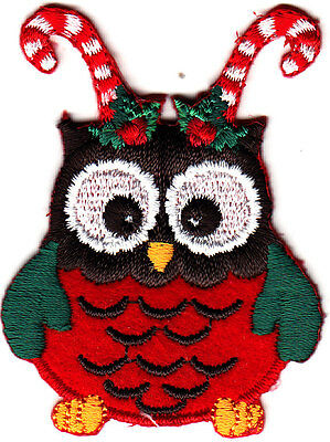 OWL w/CANDY CANES Iron On Embroidered Patch Christmas Holiday