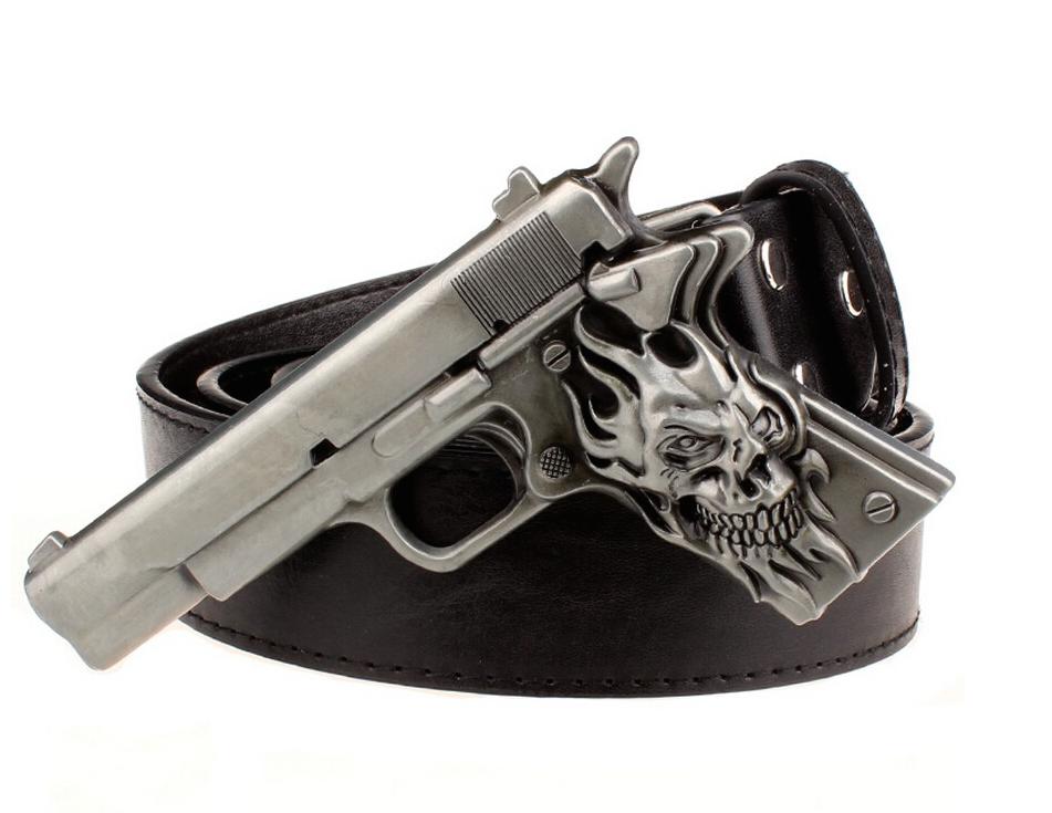 Leather Men's Belt Genuine Leather Buckle Skull Gun Buckle 115 cm