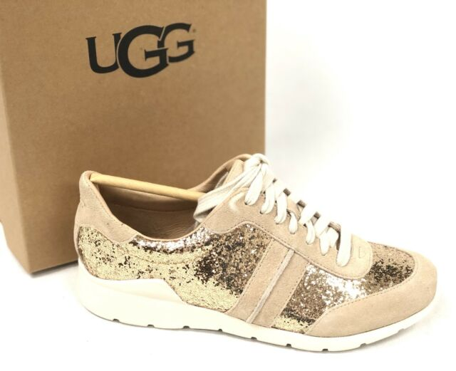 7c24a51152a UGG Jaida Glitter Sneaker Gold Suede Leather Sporty Womens Shoes Size US 7.5