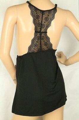 Camisoles & Camisole Sets Have An Inquiring Mind Linea Donatella Women's Black Lace Racerback Cami Size M Pleasant To The Palate