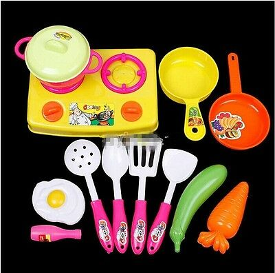 Plastic Child Kids Chef Kitchen Cookware Food Play Spoon Pan Pot Toy Set -Y
