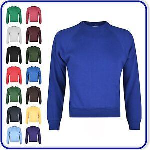 Neuf-bonne-qualite-Sweats-Garcons-Filles-Uni-Ecole-Jumpers-Taille-22-034-34-034-0200