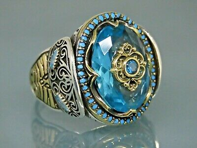Details about  /Turkish 925 Sterling Silver Aquamarine and Small Ruby Red Stone Mens Ring Usa