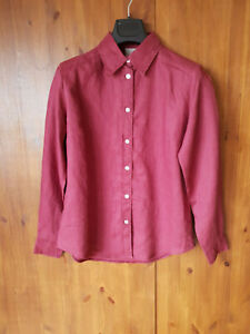 RRP-99-POETRY-Summer-Blouse-100-lin-rouge-bordeaux-shirt-top-UK-10-12-20-NEUF
