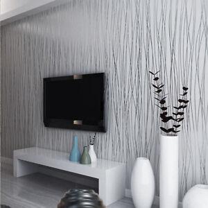 10m Roll 3d Glitz Glitter Striped Pattern Line Embossed Living Room