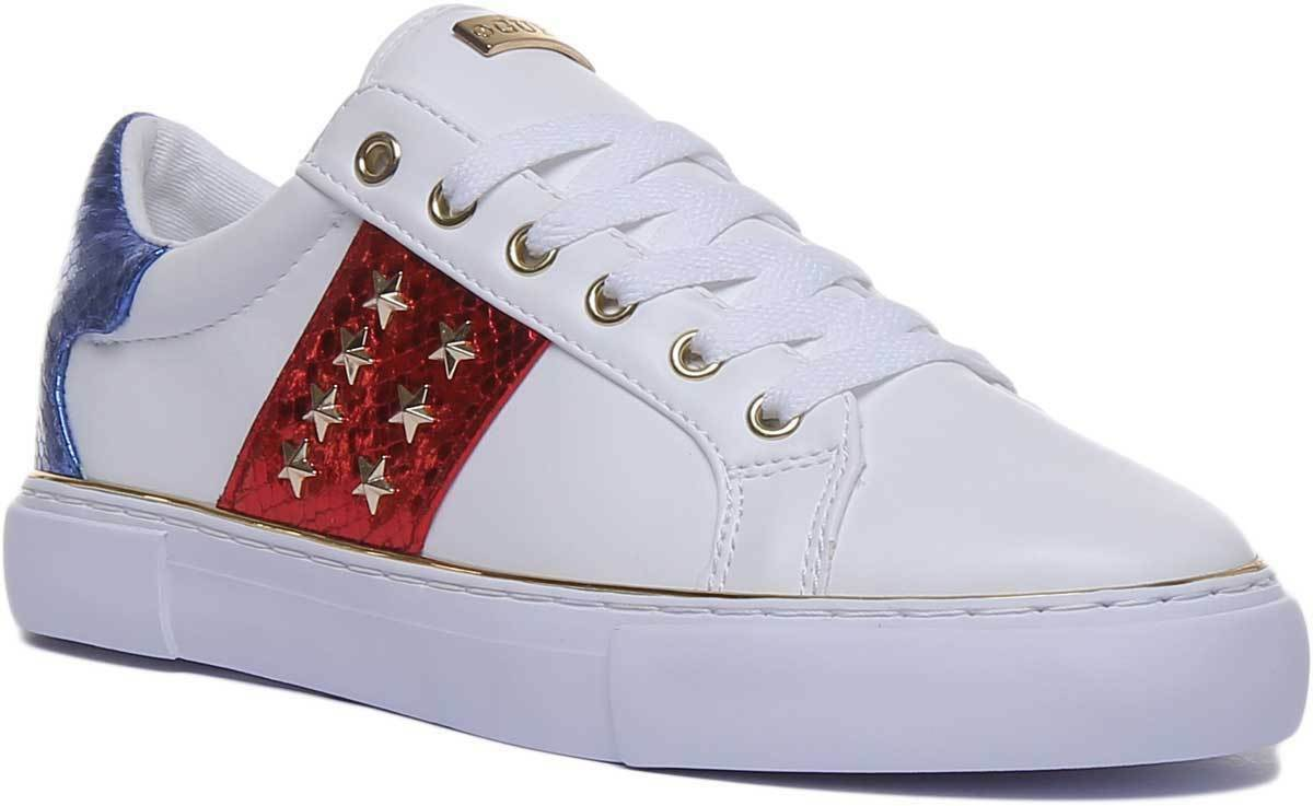 Guess Gamer Active Lady Women Fabric White Red bluee Trainers UK Size 3 - 8