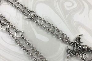 Silver-Dragon-Lanyard-Fantasy-Badge-Holder-Silver-Chain-Lanyard-Breakaway-Opt
