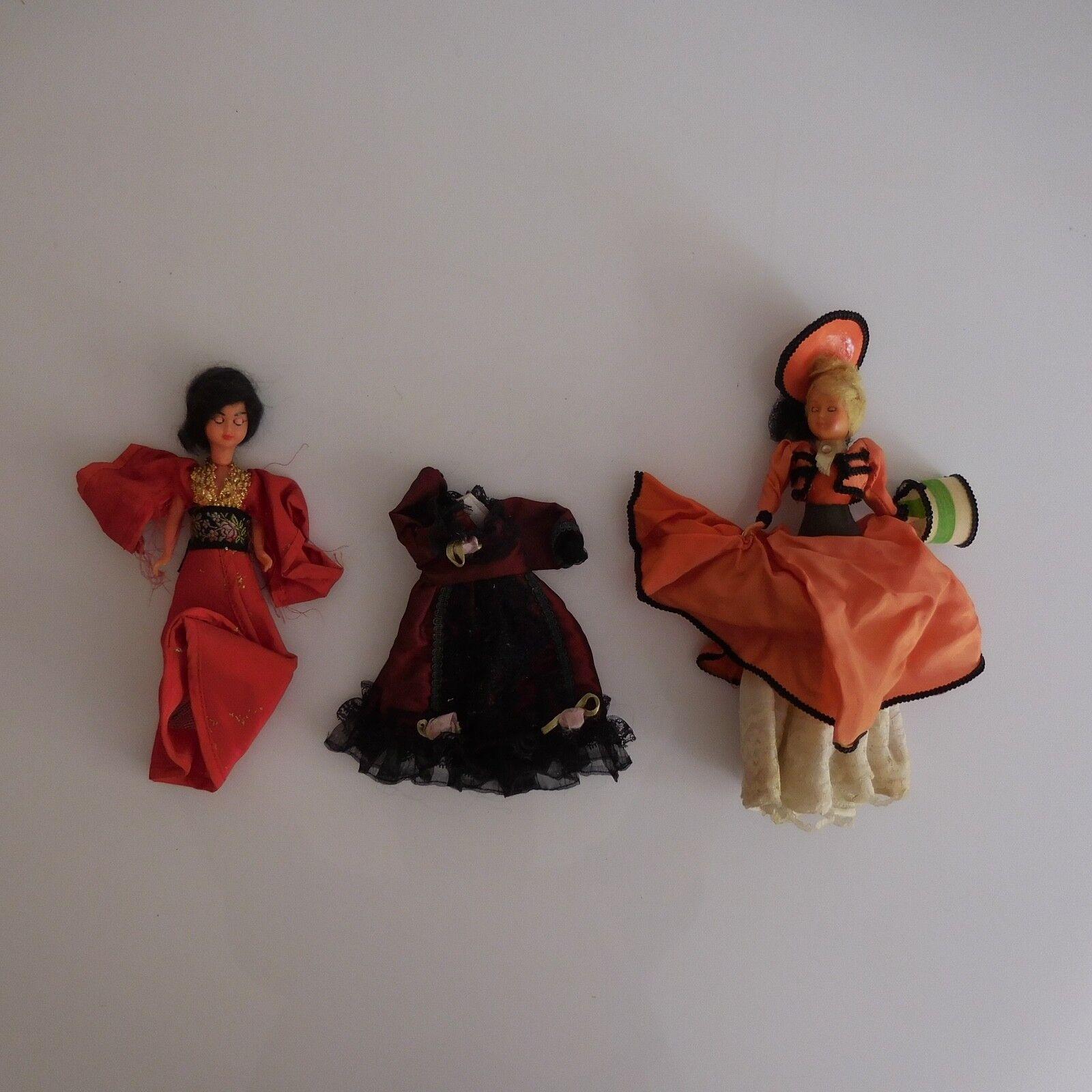 2 poupées personnages + 1 robe collection tradition fait main XXe PN France