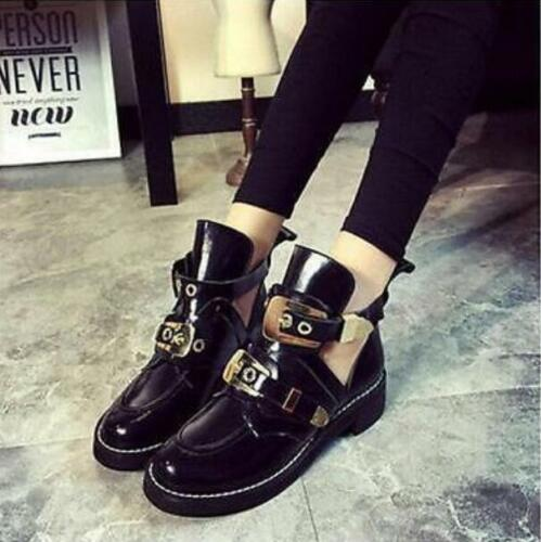 Women/'s Ankle Boots Round Toe Buckle Strap Metal Decor Chunky Cut Out Shoes Punk