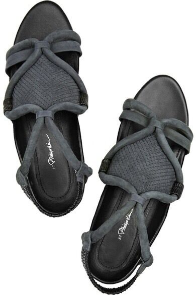 3.1 Phillip Lim Anthracite Marquise Nubuck Sandals Charcoal Grey UK5.5 38.5
