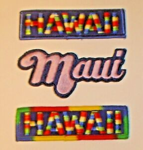 Lot (3) Embroidered Patches Maui Hawaii - Unused