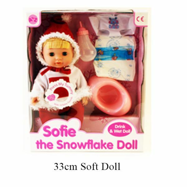 Kids Snowflake Drink & Wet 10 Sounds Crying Sleeping Bottle Potty Baby Doll New