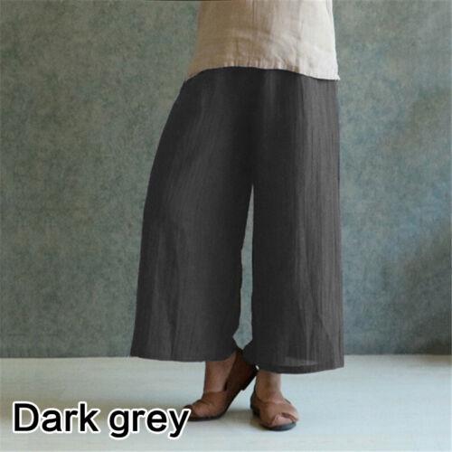 Retro Women Summer Wide Leg Pants Cotton Linen Loose Travel Trousers Plus S-5XL