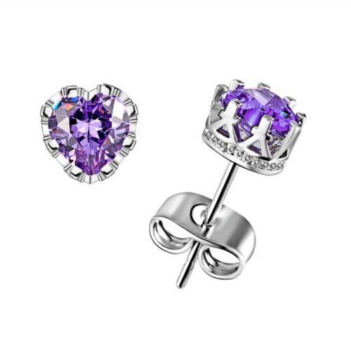 925 Silver 18K CZ Ear Stud Earrings Cubic Zircon Women Fashion Wedding Jewelry