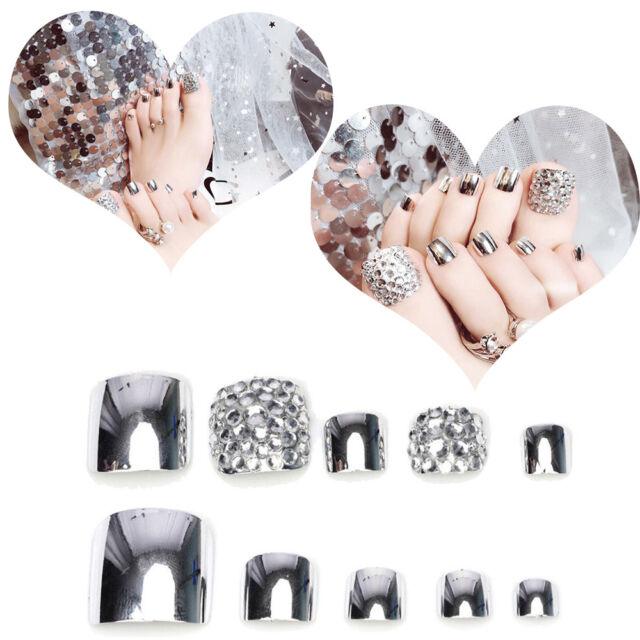 Glue Shimmer Diamond Full Nail Metallic Silver Toe Tips Fake False 3D Pack of 24