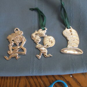 3 Dr Seuss Cat in the Hat Christmas Ornament Metal ...