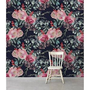 Removable Wallpaper Dark Floral Roses With Rowan Pattern Vintage Watercolor Ebay