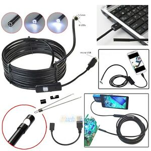 5 5mm Android Endoscope Waterproof Snake Borescope USB Inspection Camera 6 LED