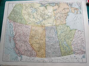 image is loading 1919 large antique map canada west