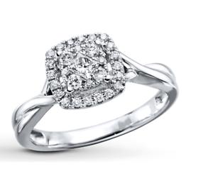 Kay Jewelers Diamond Engagement Ring 1 3 Ct Tw Round Cut 10k White