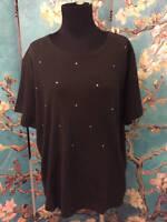 Quacker Factory L Black Round Neck Studded 100% Cotton Short Sleeve Top