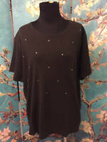 Quacker Factory L Black Scoop Neck Studded Front Cotton Short Sleeve Top
