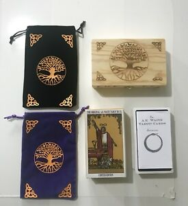 Tarot Cards A.E. Waite Original NEW & SEALED & WOODEN HANDCRAFTED TAROT DECK BOX