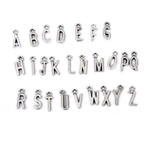 100Pcs Silver Tone Alphabet Initial Charms chaîne Pendentif À faire soi-même Craft Collier